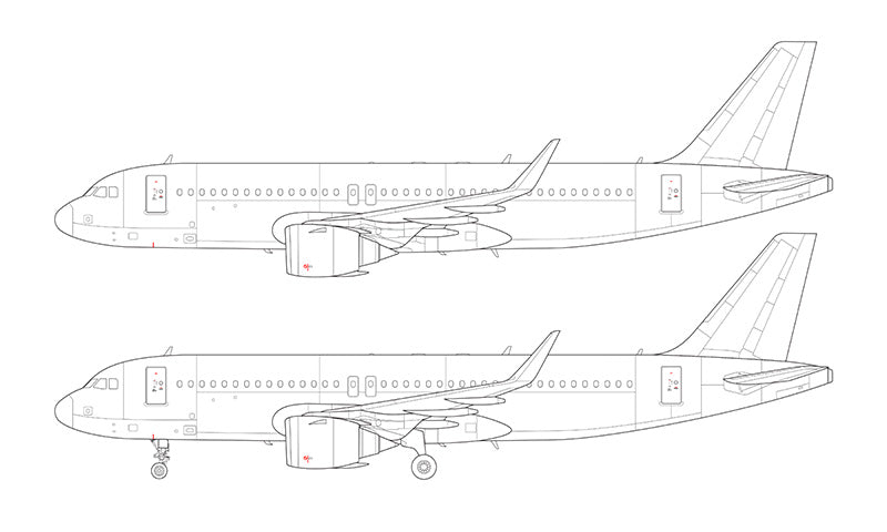 Airbus A320 NEO with CFM LEAP engines line drawing