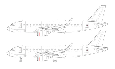 Airbus A320 NEO with Pratt & Whitney engines line drawing