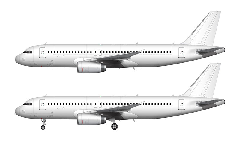 All White Airbus A320 with v2500 engines template