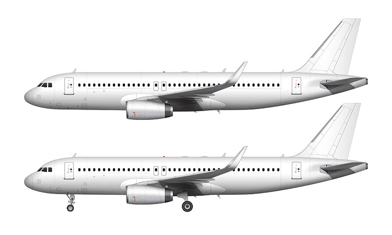 All White Airbus A320 with v2500 engines and sharklets template