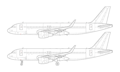 Airbus A320 with cfm56 engines and sharklets line drawing