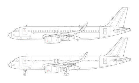 Airbus A320 with v2500 engines and sharklets line drawing