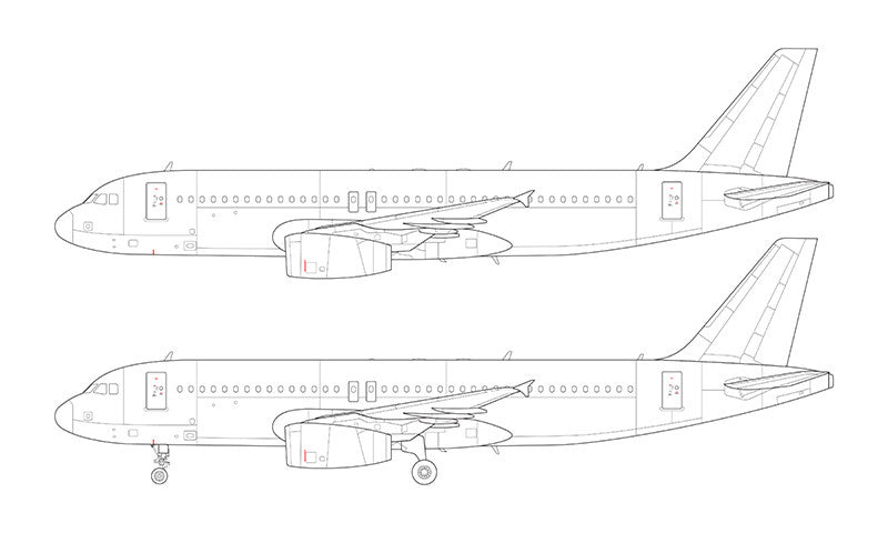Airbus A320 with v2500 engines line drawing