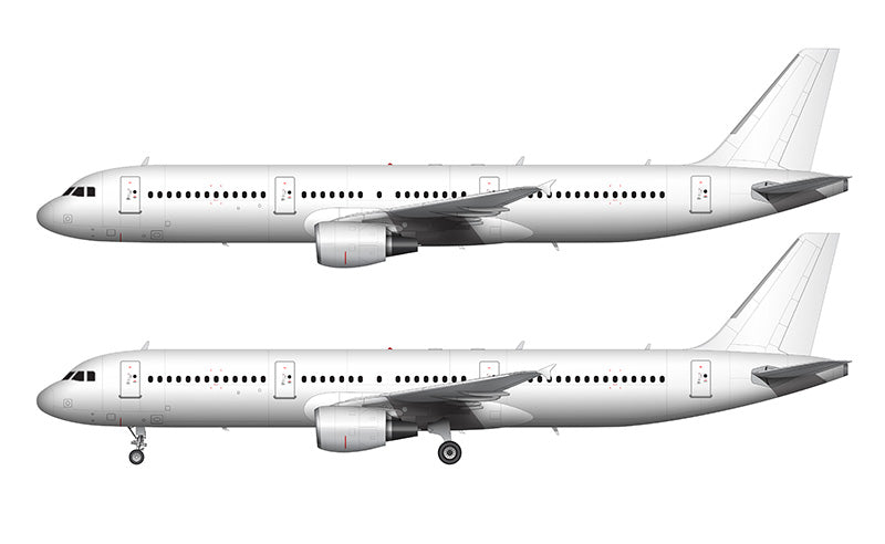 All White Airbus A321 with cfm56 engines template
