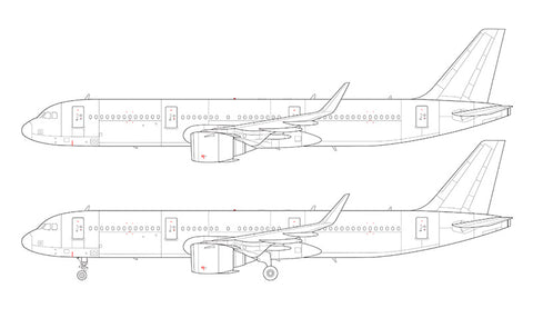 Airbus A321 NEO with CFM LEAP engines line drawing