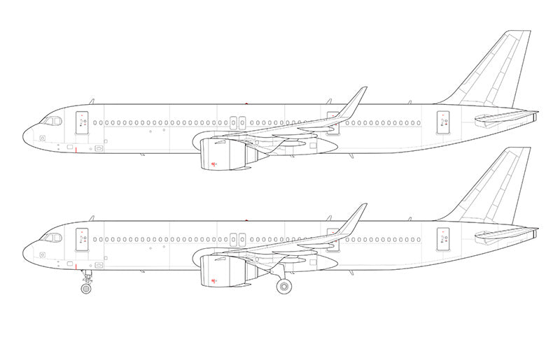 Airbus A321 NEO LR (Long Range) with CFM LEAP engines line drawing
