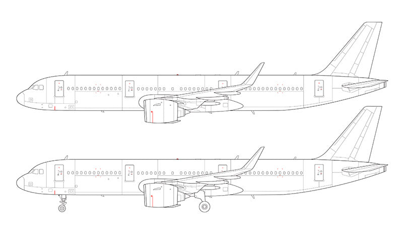 Airbus A321 NEO with Pratt & Whitney engines line drawing