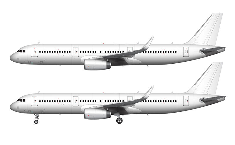 All White Airbus A321 with v2500 engines and sharklets template