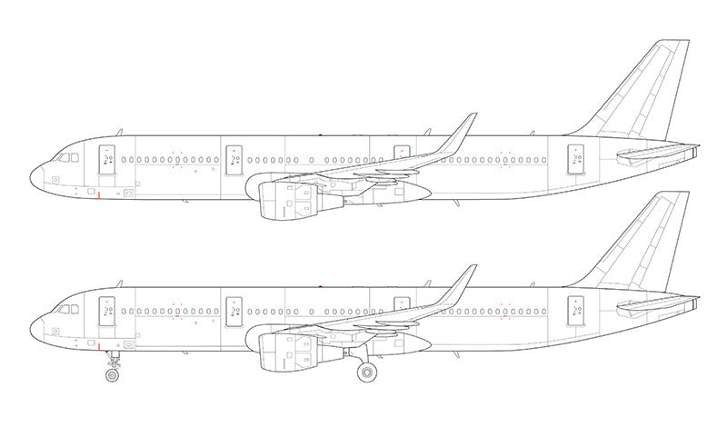 Airbus A321 with cfm56 engines and sharklets line drawing