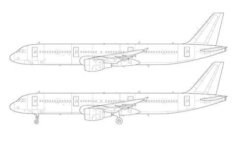 Airbus A321 with cfm56 engines line drawing