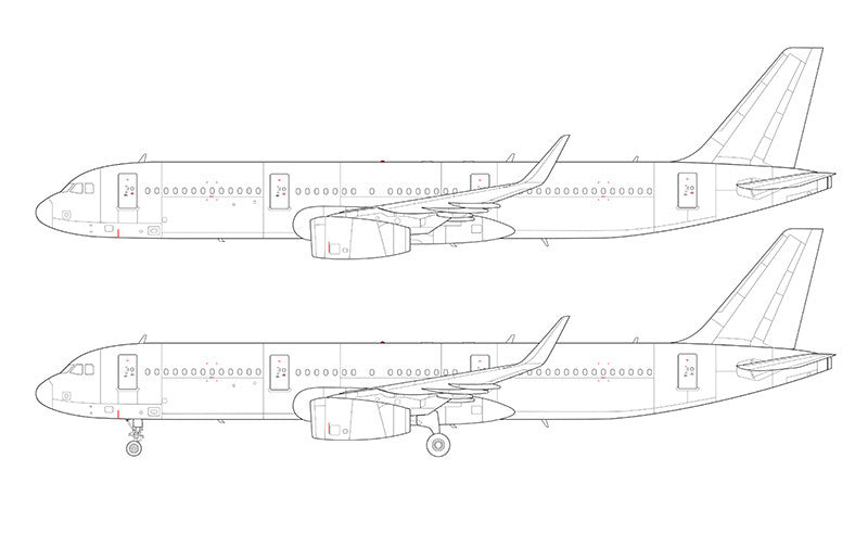 Airbus A321 with v2500 engines and sharklets line drawing