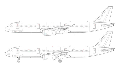 Airbus A321 with v2500 engines line drawing