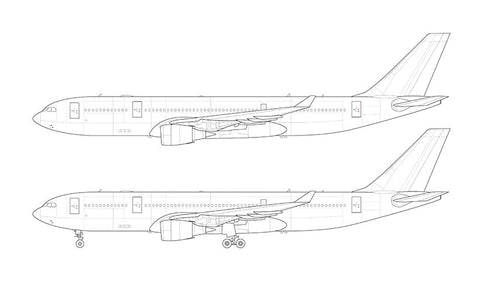 Airbus A330-200 with GE engines line drawing