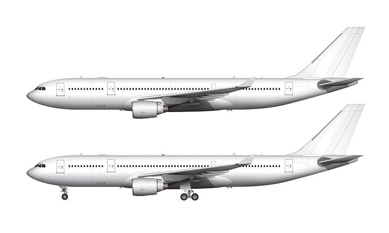 All White Airbus A330-200 with Pratt & Whitney engines template