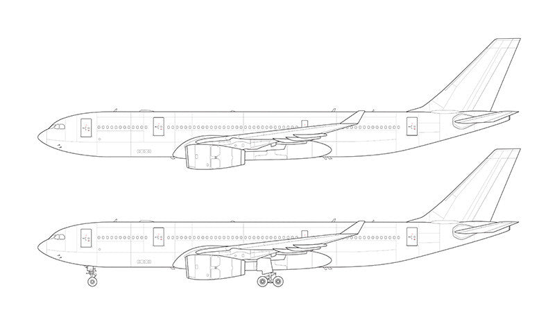 Airbus A330-200 with Rolls Royce engines line drawing