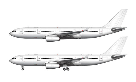 All White Airbus A330-200 with Rolls Royce engines template