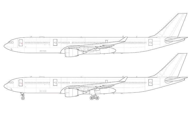 Airbus A330-300 with GE engines line drawing
