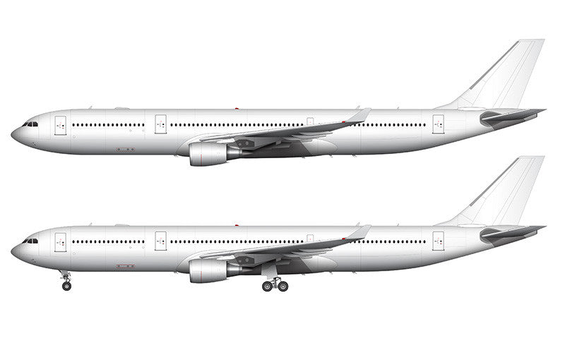 All White Airbus A330-300 with GE engines template
