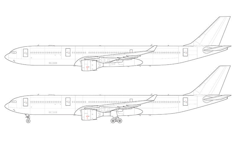 Airbus A330-300 with Pratt & Whitney engines line drawing