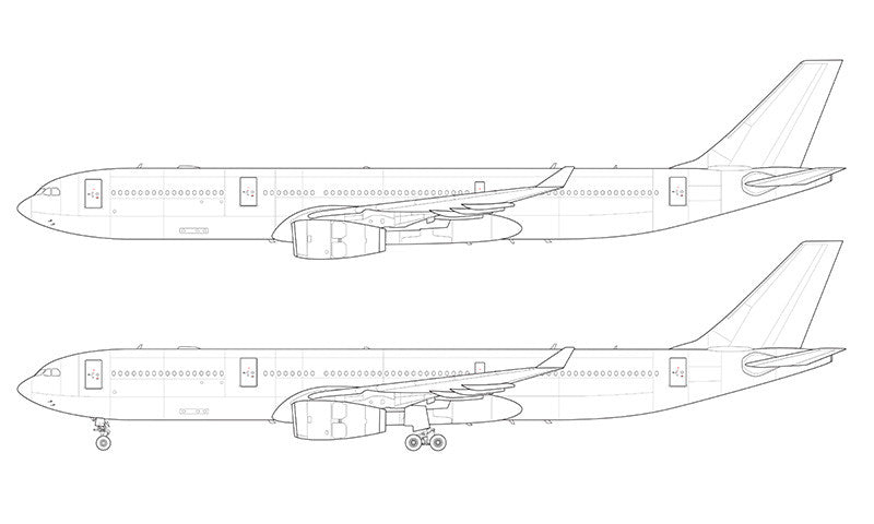Airbus A330-300 with Rolls Royce engines line drawing