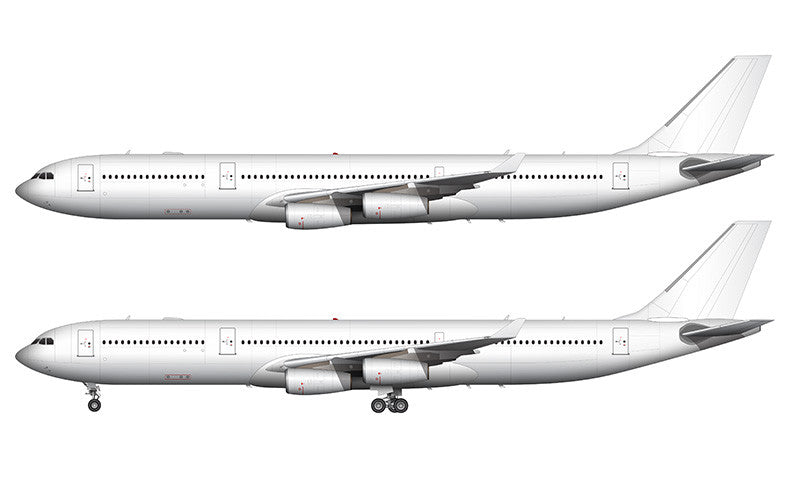 All White Airbus A340-300 template