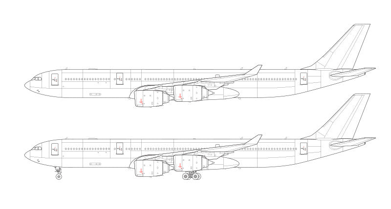 Airbus A340-500 line drawing