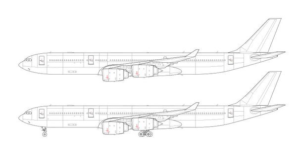 delta airlines coloring pages   Airbus A340-500 line drawing – ShopNorebbo