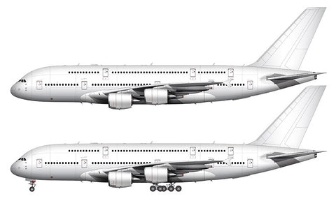All White Airbus A380-800 template
