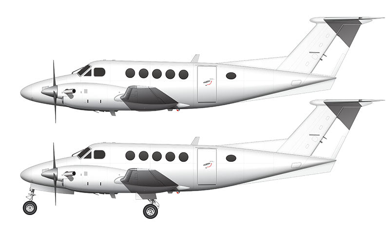 All White Beechcraft B200 King Air template