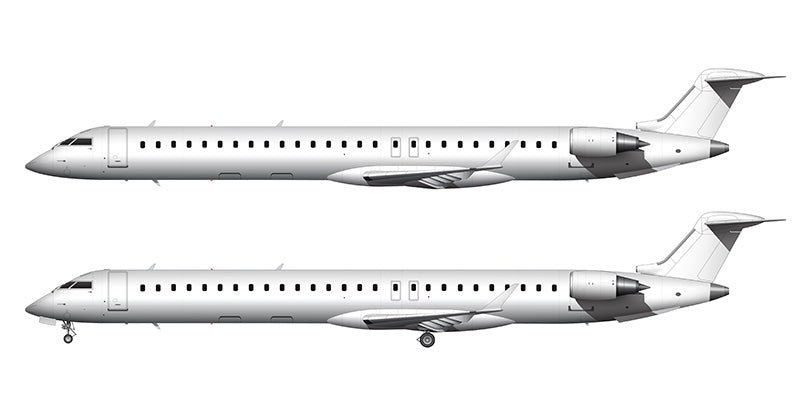 All White Bombardier Regional Jet 1000 (CRJ-1000) template