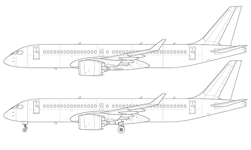 Line Drawings From D Models : Bombardier cs line drawing shopnorebbo
