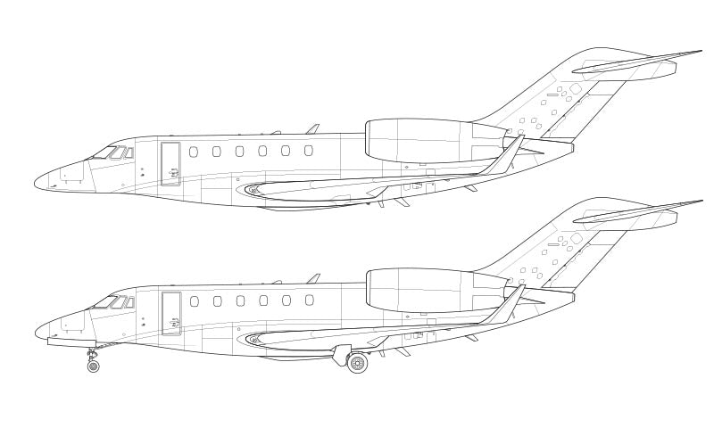 Cessna Citation X with winglets line drawing