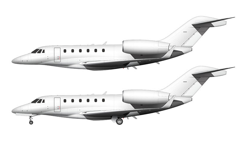 All White Cessna Citation X with winglets template