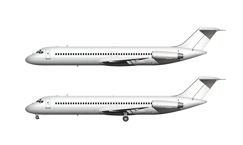 All White McDonnell Douglas DC-9-40 template