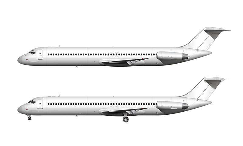 All White McDonnell Douglas DC-9-50 template
