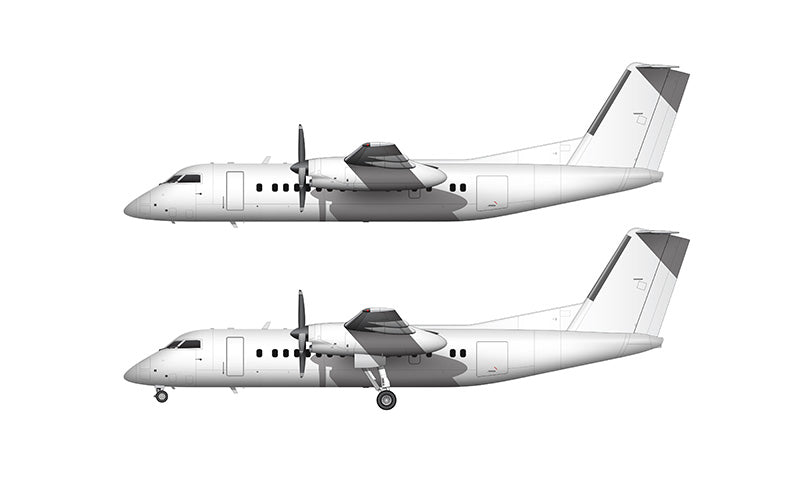 All White De Havilland DHC-8-300 Q300 template