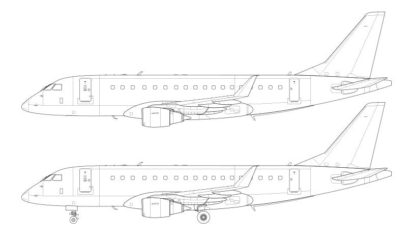Embraer 175 with new style winglets line drawing
