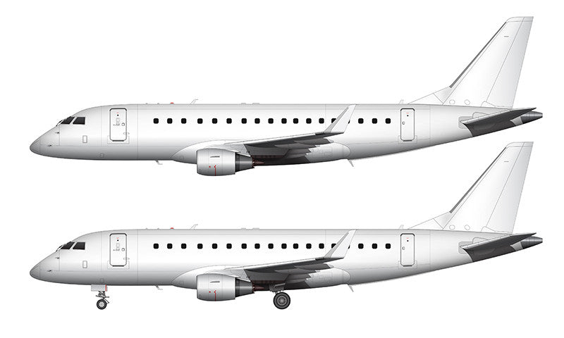 All White Embraer 175 with new style winglets template
