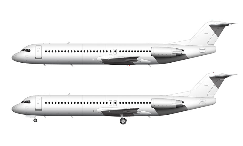 All White Fokker 100 (F-28-0100) template