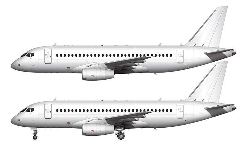 All White Sukhoi SSJ-100 template