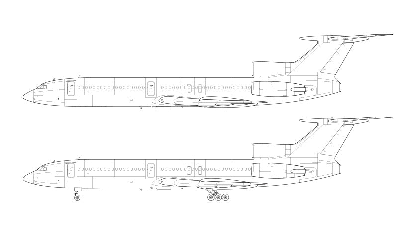 Tupolev Tu-154M line drawing