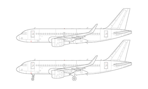 Airbus A319 with cfm56 engines and sharklets line drawing