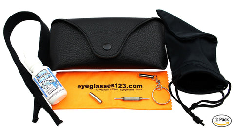Eye-Max Eyeglasses and Sunglasses Case (Ray Ban Style) w/Accessories