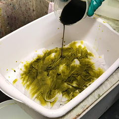 Pouring Dye onto Cotton Fabric with Procion Fiber Reactive Dyes - Chartreuse