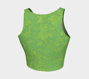 Crop Top - Chartreuse with Teal - Zen