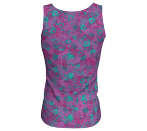 fitted tank - plum - watercolor circles style - back view - ColorUpLife