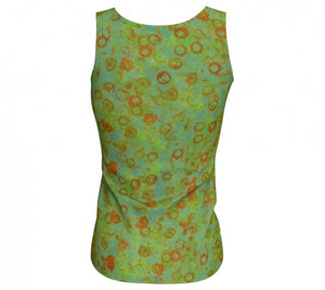 fitted tank - green - watercolor circle style - back view - ColorUpLife