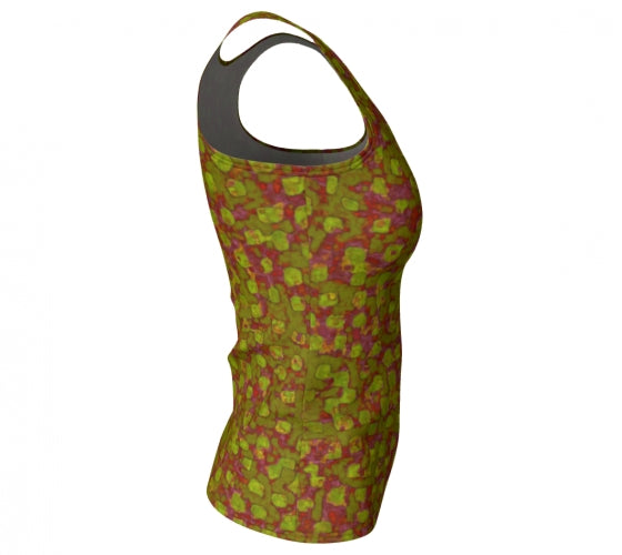 fitted tank - olive - be square style - front view with swatch - ColorUpLife