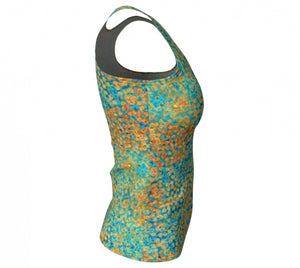 fitted tank - turquoise - sweet pea style - side view - ColorUpLife