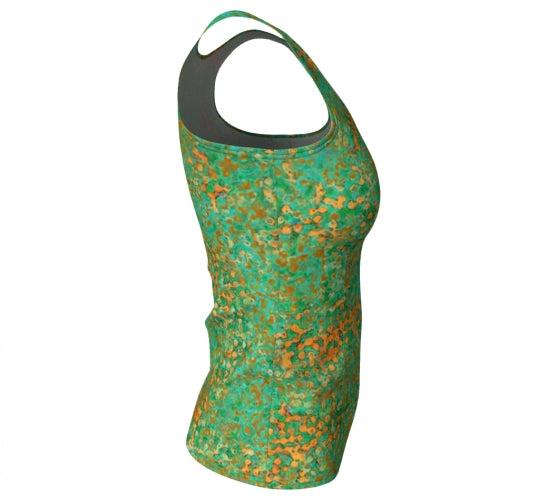 fitted tank - green - reef style - front view with swatch - ColorUpLife